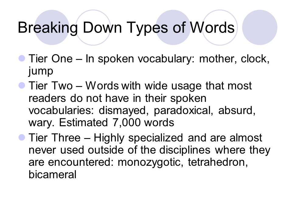 Breaking Down Types of Words Tier One – In spoken vocabulary: mother, clock, jump Tier Two – Words with wide usage that most readers do not have in their spoken vocabularies: dismayed, paradoxical, absurd, wary.