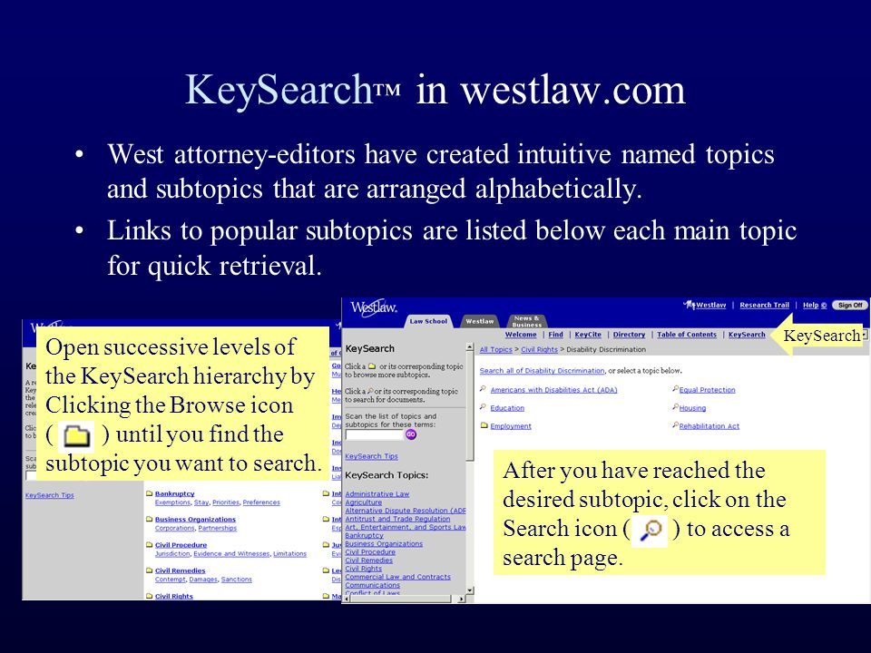 KeySearch ™ in westlaw.com West attorney-editors have created intuitive named topics and subtopics that are arranged alphabetically.