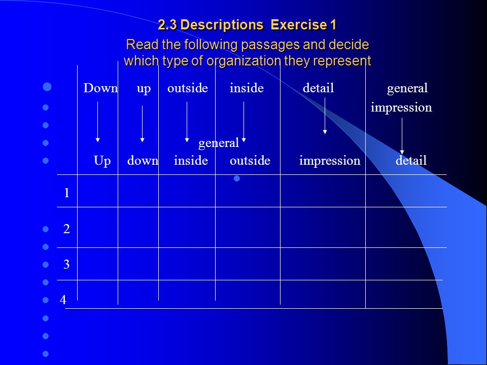 2.3 Descriptions Exercise 1 Read the following passages and decide which type of organization they represent 2.3 Descriptions Exercise 1 Read the foll