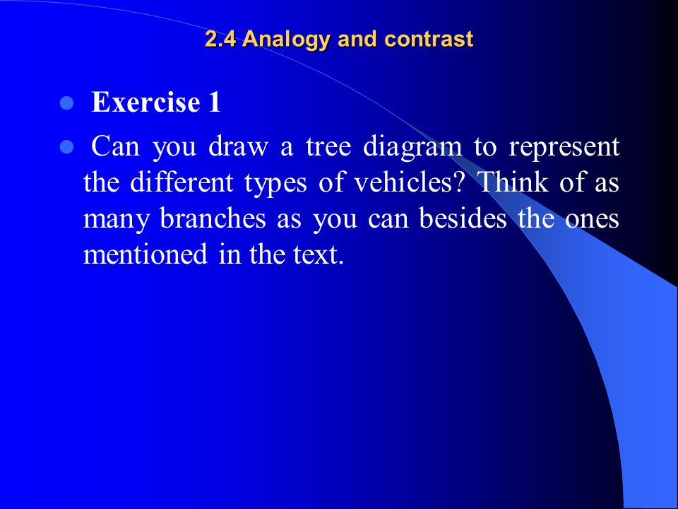 2.4 Analogy and contrast Exercise 1 Can you draw a tree diagram to represent the different types of vehicles? Think of as many branches as you can bes