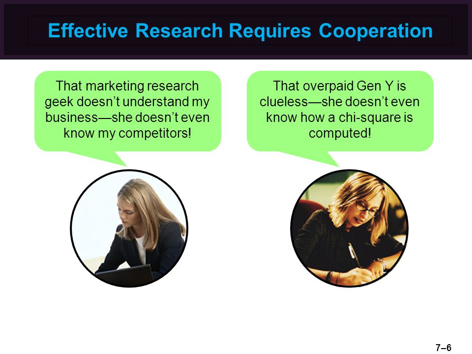 Effective Research Requires Cooperation That marketing research geek doesn't understand my business—she doesn't even know my competitors! That overpai