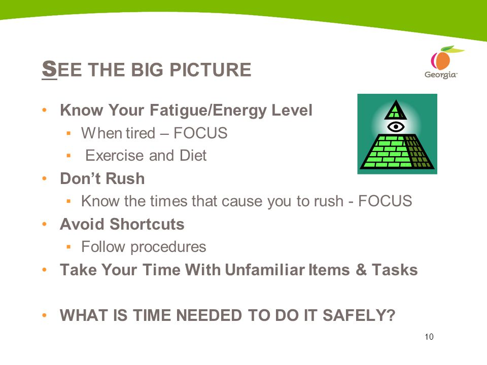 10 S EE THE BIG PICTURE Know Your Fatigue/Energy Level ▪When tired – FOCUS ▪ Exercise and Diet Don't Rush ▪Know the times that cause you to rush - FOC