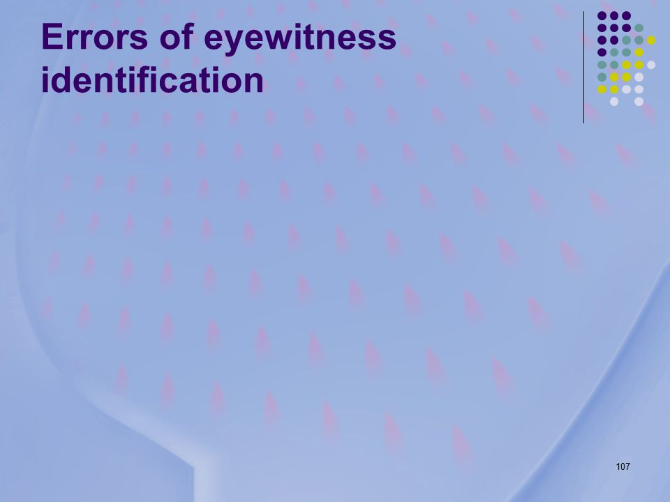 107 Errors of eyewitness identification