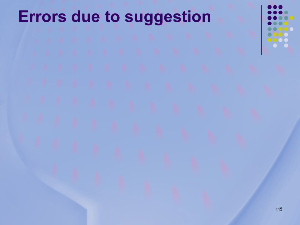 115 Errors due to suggestion