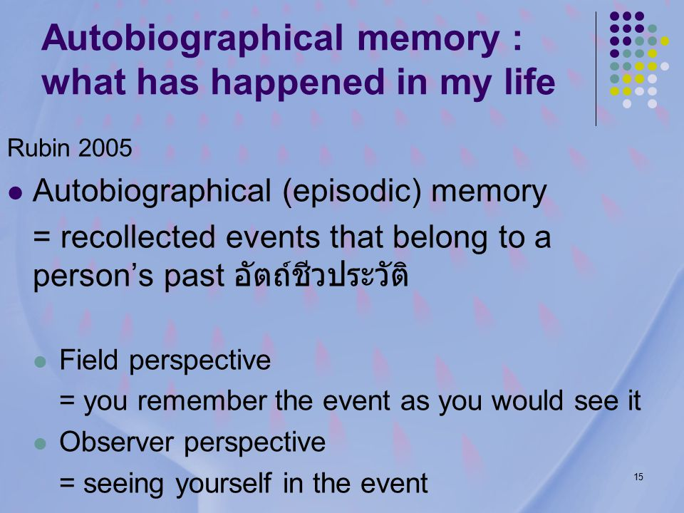 15 Autobiographical memory : what has happened in my life Rubin 2005 Autobiographical (episodic) memory = recollected events that belong to a person's past อัตถ์ชีวประวัติ Field perspective = you remember the event as you would see it Observer perspective = seeing yourself in the event