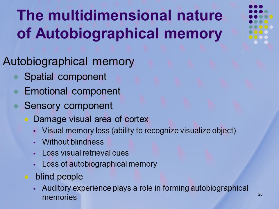 20 The multidimensional nature of Autobiographical memory Autobiographical memory Spatial component Emotional component Sensory component Damage visual area of cortex  Visual memory loss (ability to recognize visualize object)  Without blindness  Loss visual retrieval cues  Loss of autobiographical memory blind people  Auditory experience plays a role in forming autobiographical memories