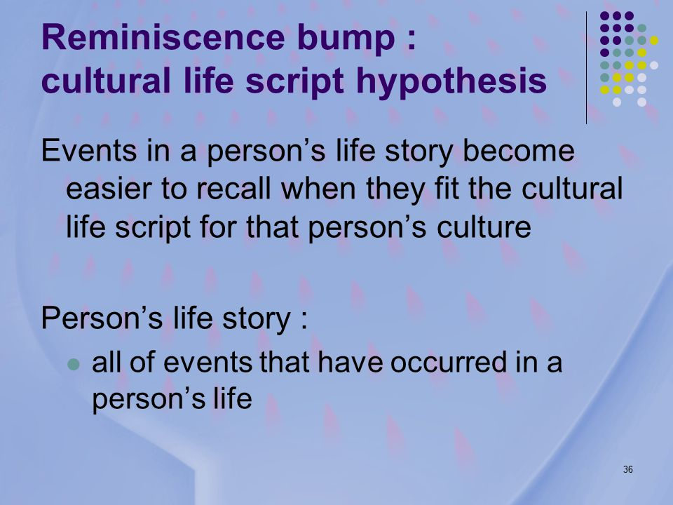 36 Events in a person's life story become easier to recall when they fit the cultural life script for that person's culture Person's life story : all of events that have occurred in a person's life Reminiscence bump : cultural life script hypothesis