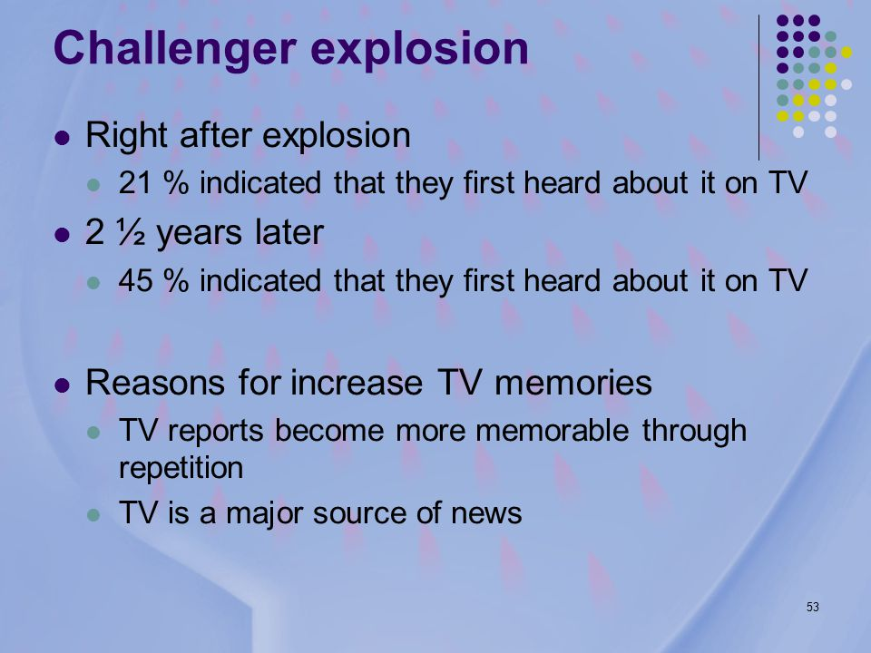 53 Challenger explosion Right after explosion 21 % indicated that they first heard about it on TV 2 ½ years later 45 % indicated that they first heard about it on TV Reasons for increase TV memories TV reports become more memorable through repetition TV is a major source of news