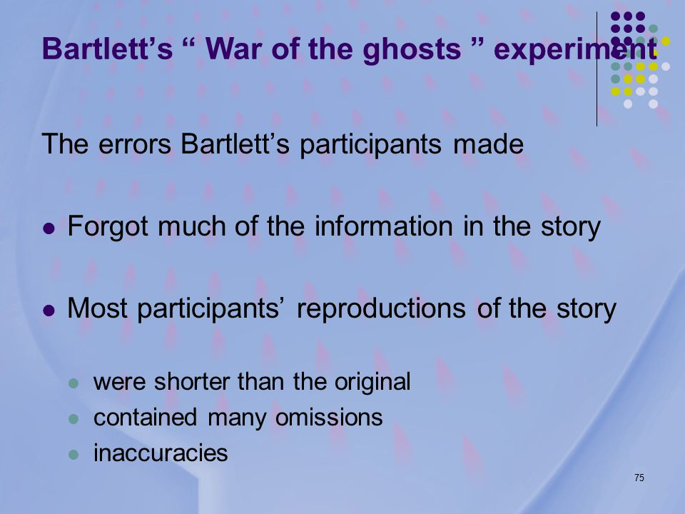 75 Bartlett's War of the ghosts experiment The errors Bartlett's participants made Forgot much of the information in the story Most participants' reproductions of the story were shorter than the original contained many omissions inaccuracies
