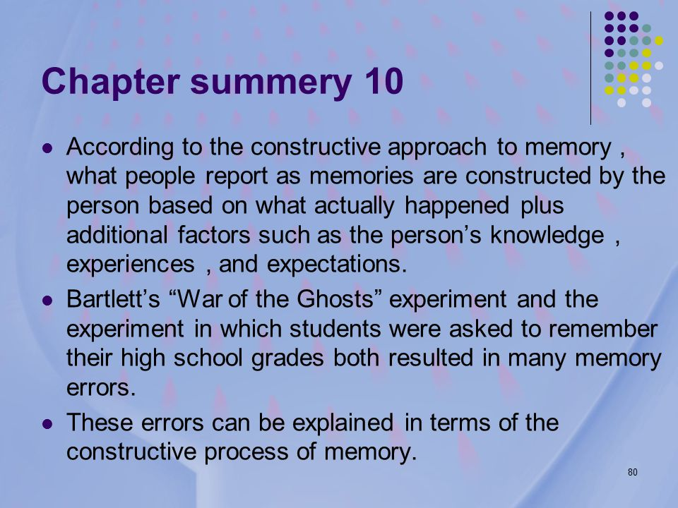 80 Chapter summery 10 According to the constructive approach to memory, what people report as memories are constructed by the person based on what actually happened plus additional factors such as the person's knowledge, experiences, and expectations.