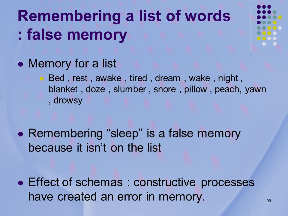 95 Remembering a list of words : false memory Memory for a list Bed, rest, awake, tired, dream, wake, night, blanket, doze, slumber, snore, pillow, peach, yawn, drowsy Remembering sleep is a false memory because it isn't on the list Effect of schemas : constructive processes have created an error in memory.