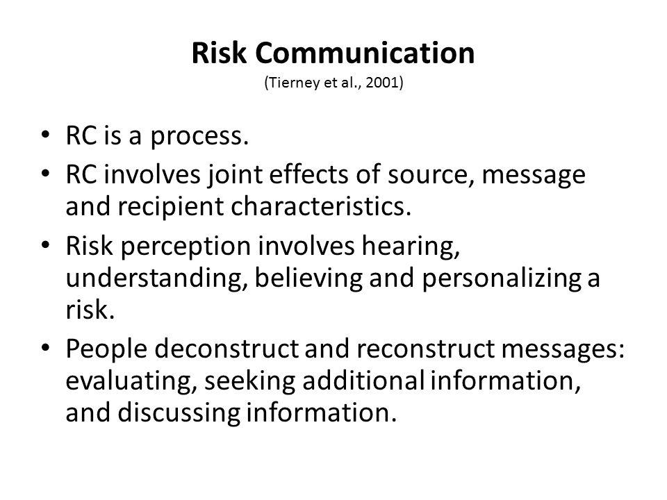 Risk Communication (Tierney et al., 2001) RC is a process.