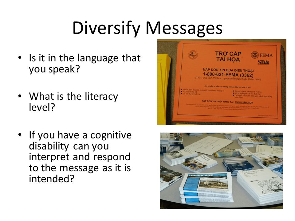 Diversify Messages Is it in the language that you speak.