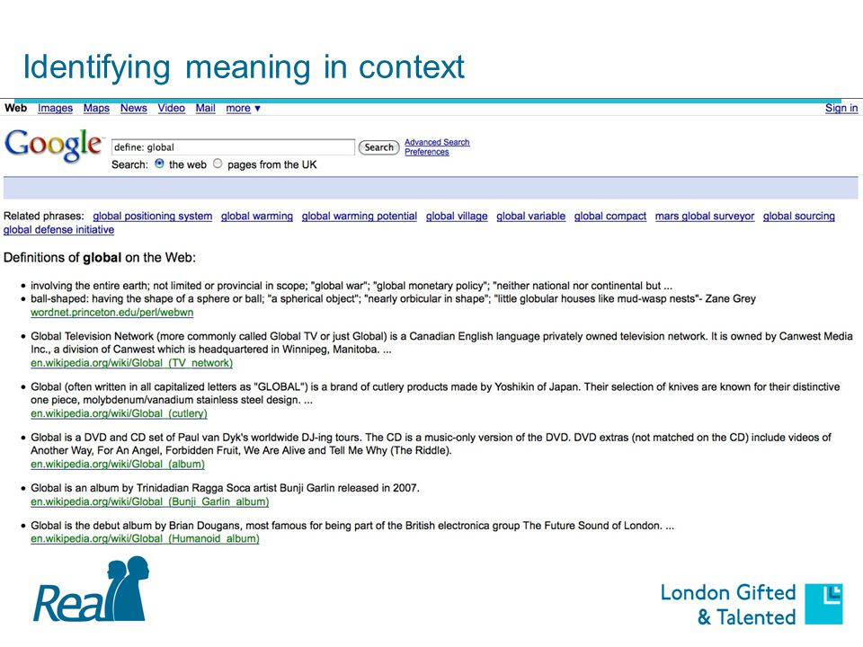 Identifying meaning in context