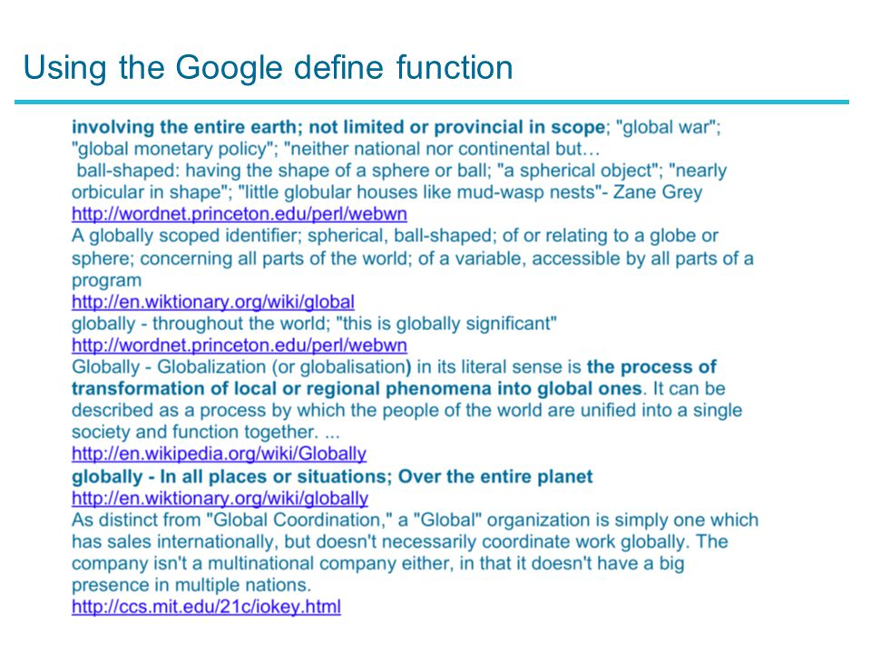 Using the Google define function