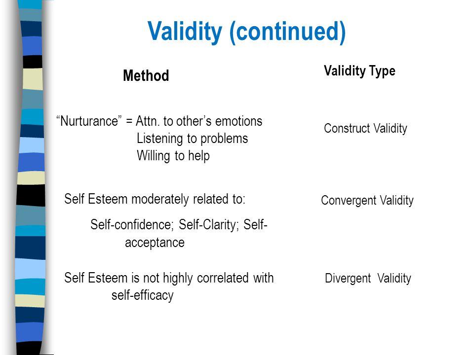 Validity (continued) Nurturance = Attn.