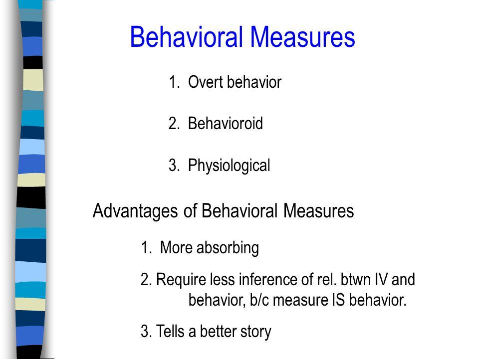 Behavioral Measures 1. Overt behavior 2. Behavioroid 3.