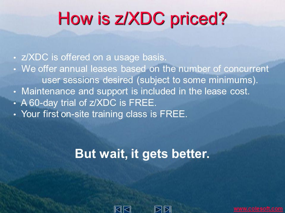 How is z/XDC priced. z/XDC is offered on a usage basis.