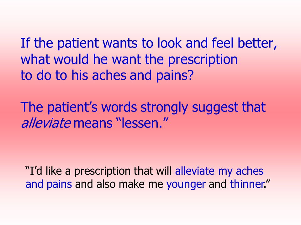 If the patient wants to look and feel better, what would he want the prescription to do to his aches and pains? The patient's words strongly suggest t