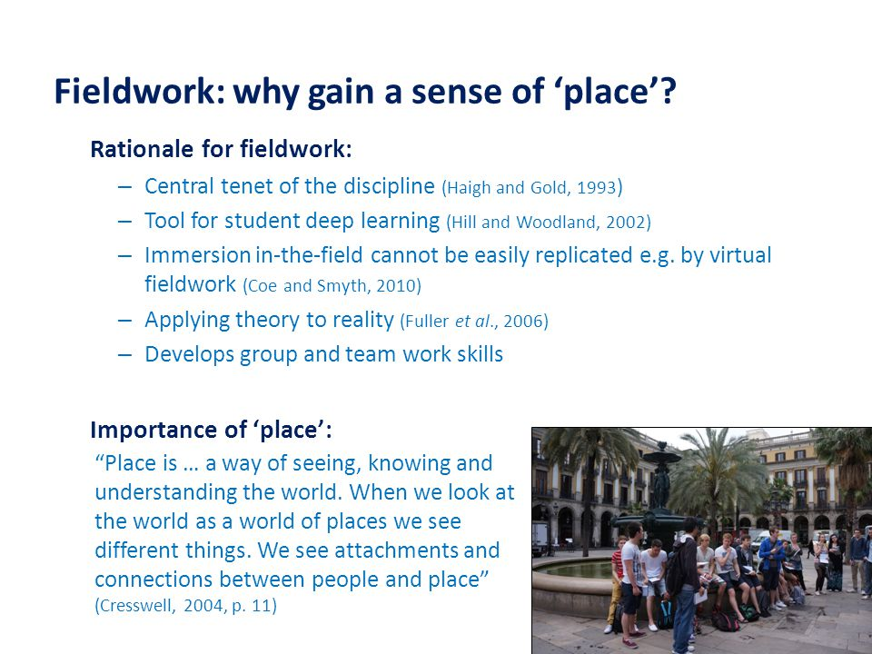 Fieldwork: why gain a sense of 'place'.