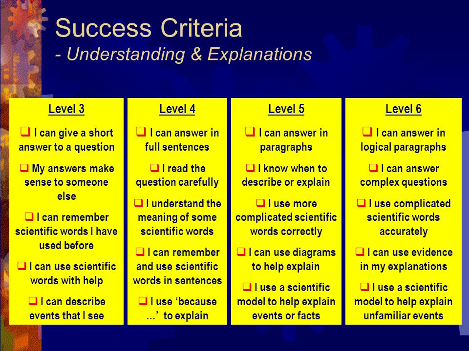 Success Criteria - Understanding & Explanations Level 3  I can give a short answer to a question  My answers make sense to someone else  I can remember scientific words I have used before  I can use scientific words with help  I can describe events that I see Level 4  I can answer in full sentences  I read the question carefully  I understand the meaning of some scientific words  I can remember and use scientific words in sentences  I use 'because …' to explain Level 5  I can answer in paragraphs  I know when to describe or explain  I use more complicated scientific words correctly  I can use diagrams to help explain  I use a scientific model to help explain events or facts Level 6  I can answer in logical paragraphs  I can answer complex questions  I use complicated scientific words accurately  I can use evidence in my explanations  I use a scientific model to help explain unfamiliar events