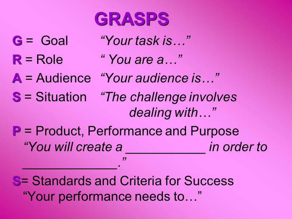 "GRASPS G G = Goal ""Your task is…"" R R = Role"" You are a…"" A A = Audience""Your audience is…"" S S = Situation""The challenge involves dealing with…"" P P"