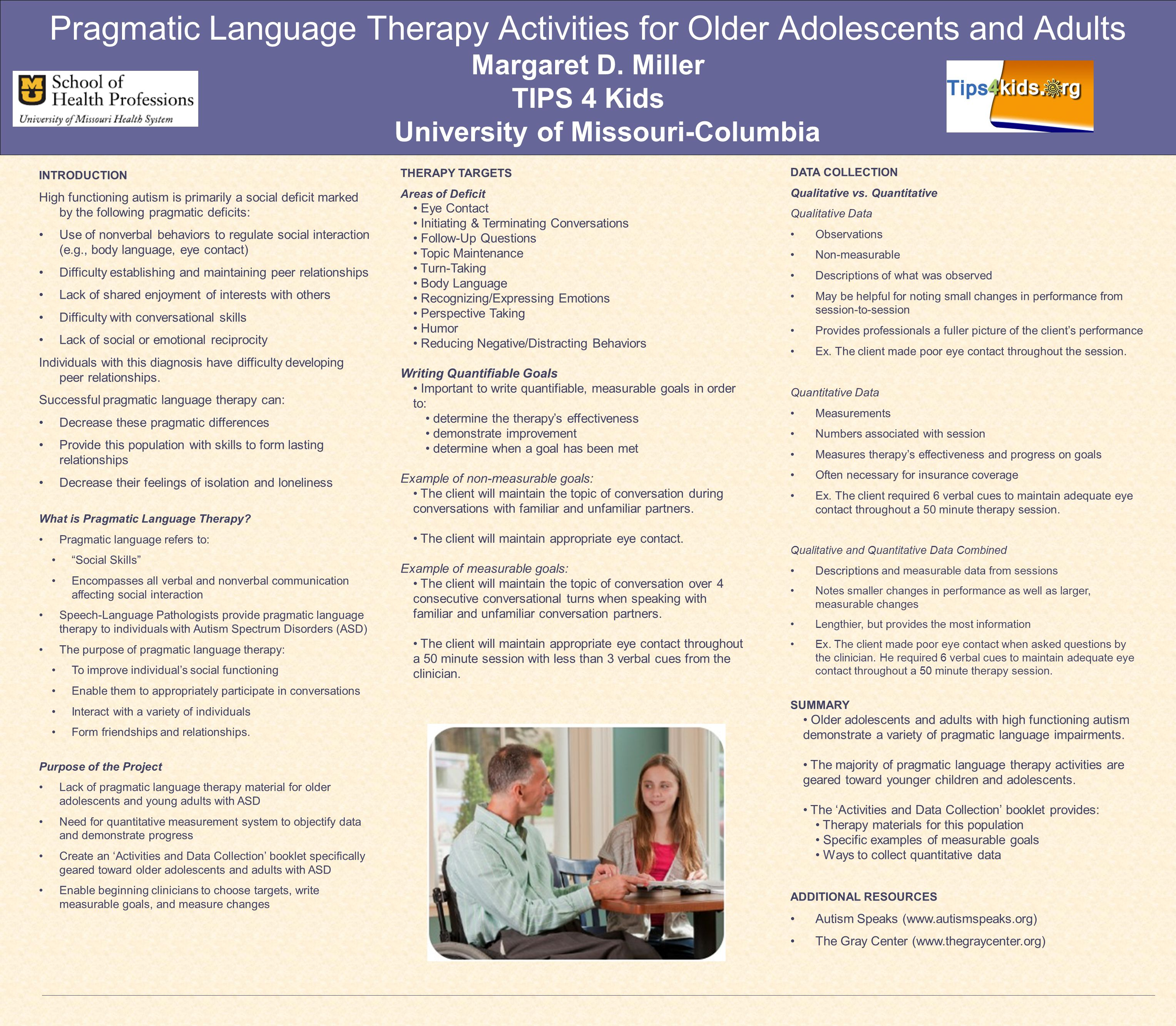 Pragmatic Language Therapy Activities for Older Adolescents and Adults Margaret D. Miller TIPS 4 Kids University of Missouri-Columbia INTRODUCTION Hig