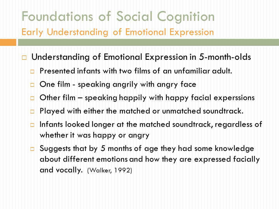 Foundations of Social Cognition Early Understanding of Emotional Expression  Understanding of Emotional Expression in 5-month-olds  Presented infant