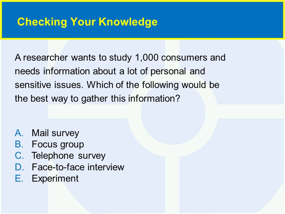 A researcher wants to study 1,000 consumers and needs information about a lot of personal and sensitive issues.