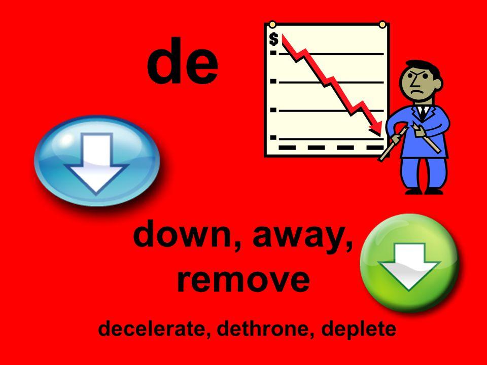 de down, away, remove decelerate, dethrone, deplete