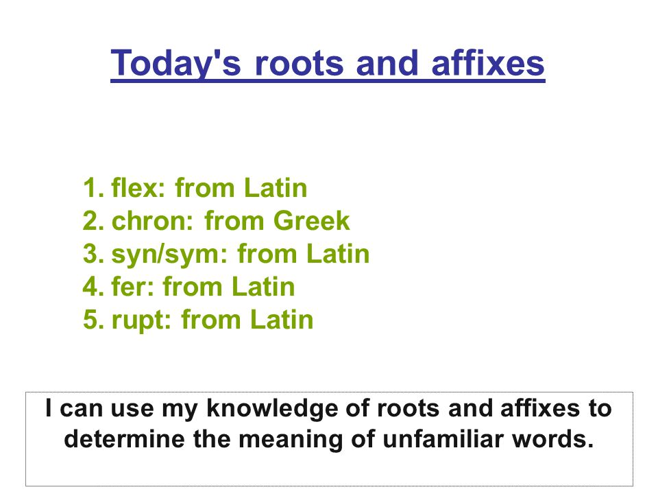 Today s roots and affixes 1.flex: from Latin 2.chron: from Greek 3.syn/sym: from Latin 4.fer: from Latin 5.rupt: from Latin I can use my knowledge of roots and affixes to determine the meaning of unfamiliar words.