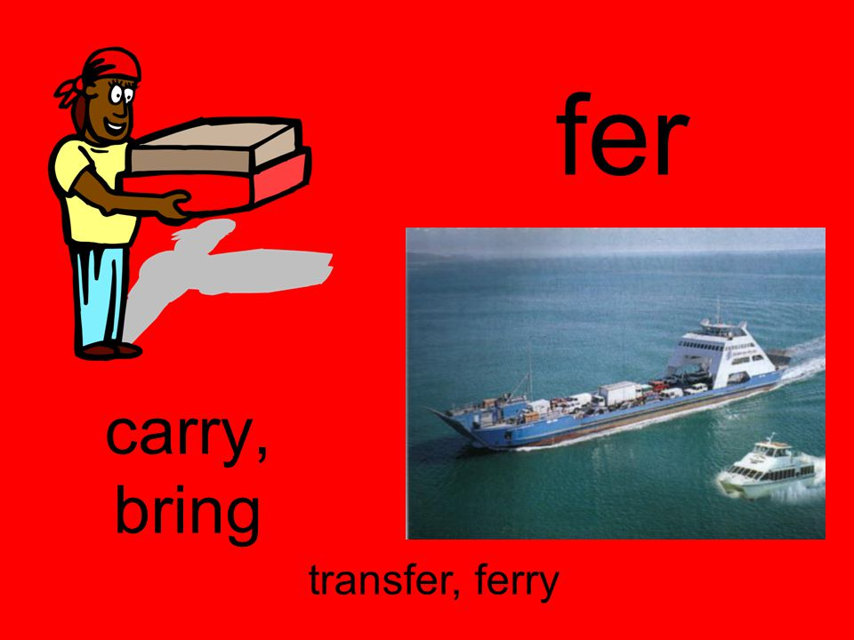 fer carry, bring transfer, ferry