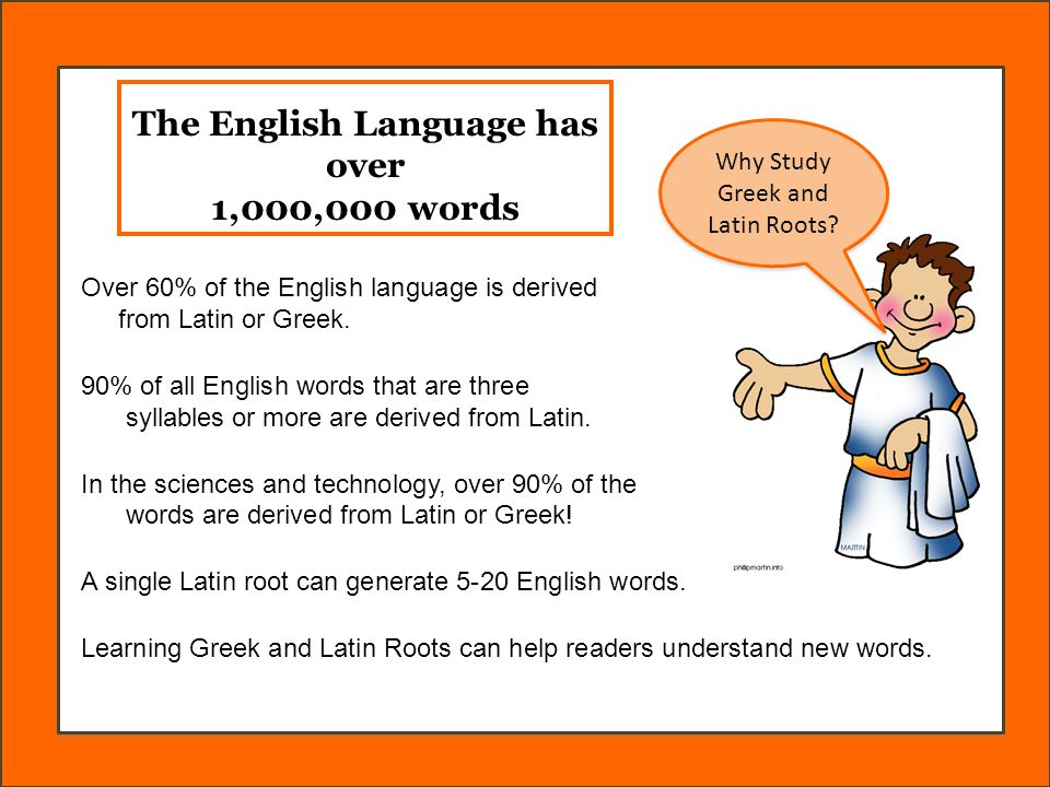 The English Language has over 1,000,000 words Over 60% of the English language is derived from Latin or Greek.