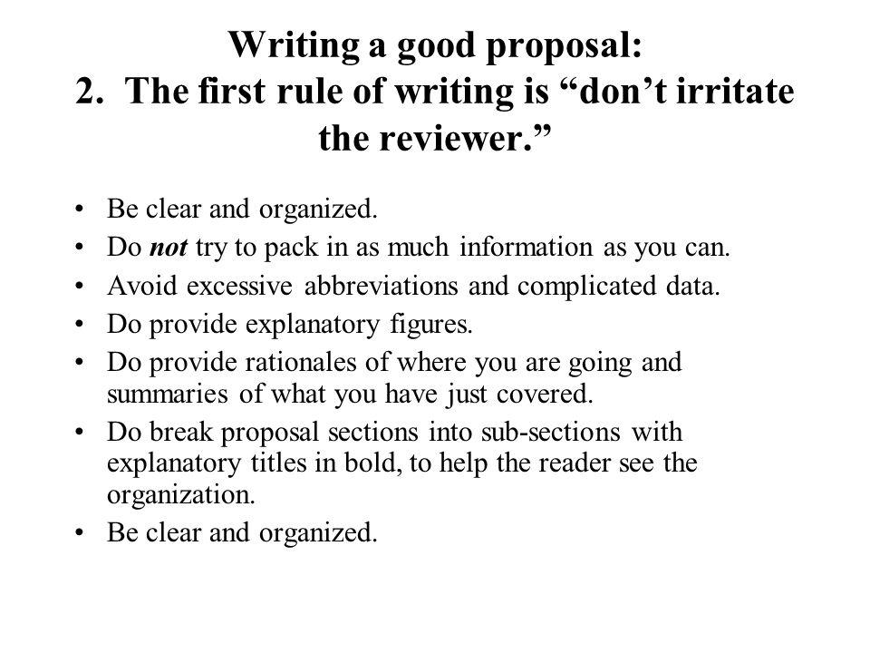 Writing a good proposal: 2.