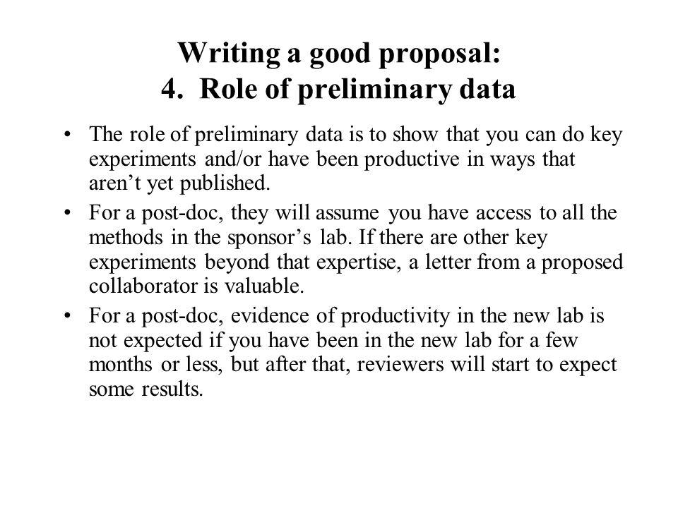 Writing a good proposal: 4.