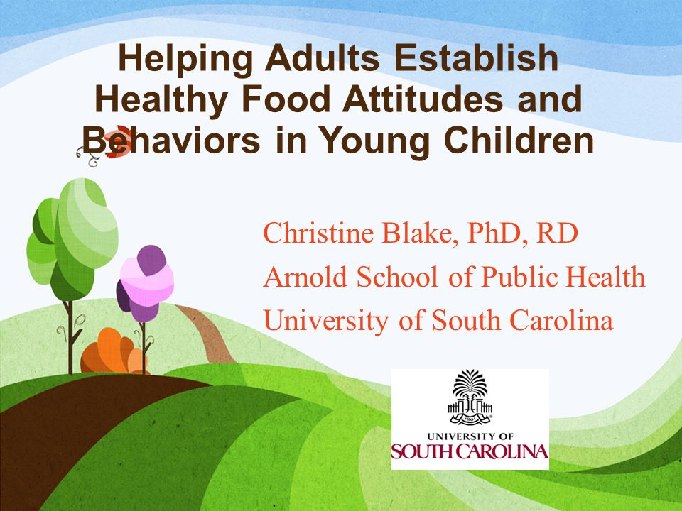 Helping Adults Establish Healthy Food Attitudes and Behaviors in Young Children Christine Blake, PhD, RD Arnold School of Public Health University of South Carolina