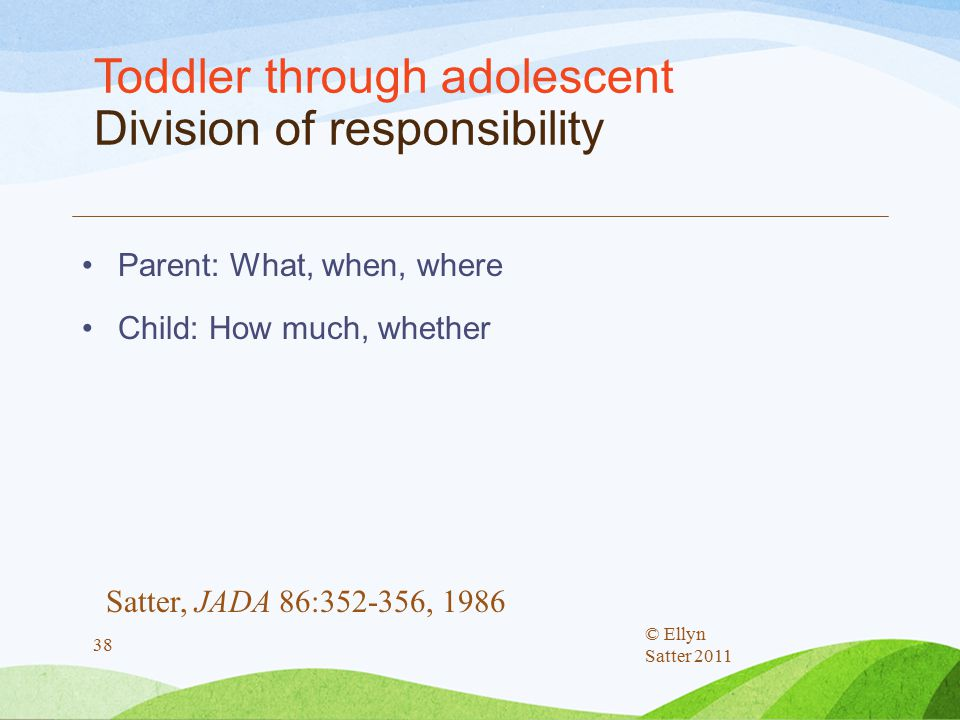Toddler through adolescent Division of responsibility Parent: What, when, where Child: How much, whether © Ellyn Satter 2011 38 Satter, JADA 86:352-356, 1986