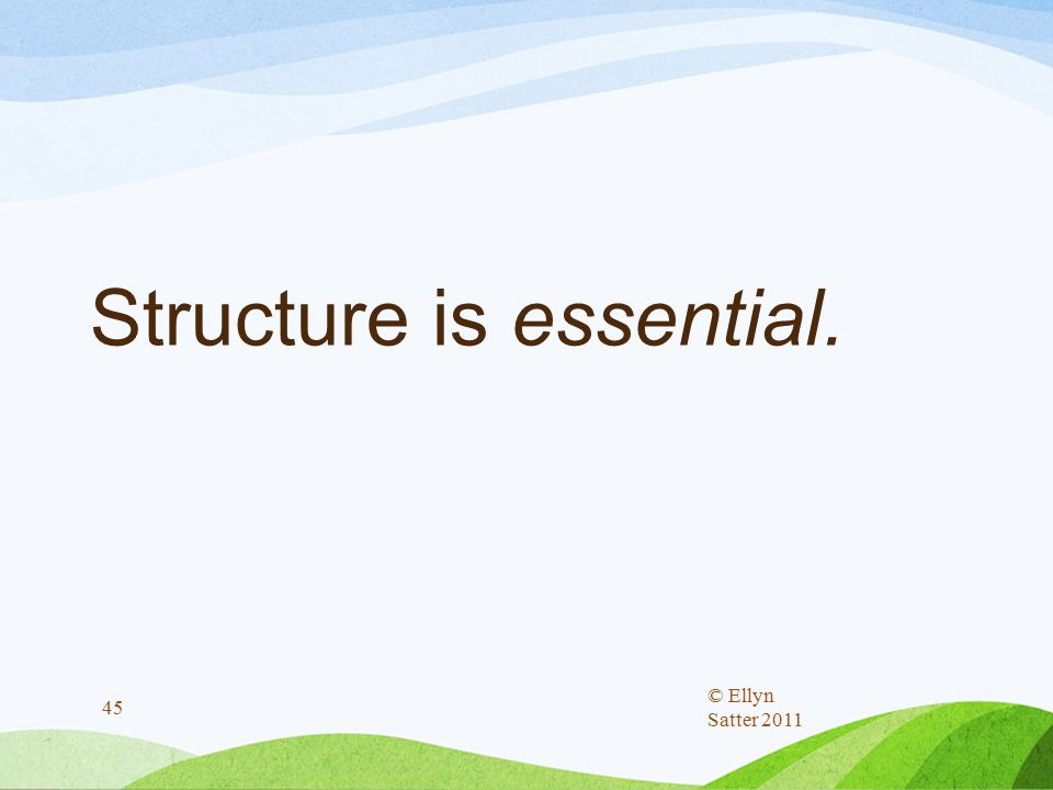 Structure is essential. © Ellyn Satter 2011 45