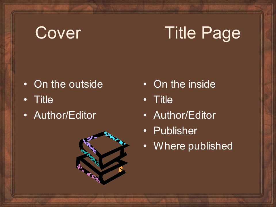 Cover Title Page On the outside Title Author/Editor On the inside Title Author/Editor Publisher Where published