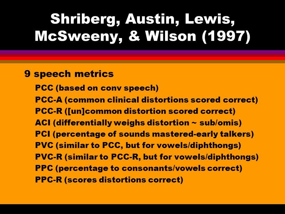 Shriberg, Austin, Lewis, McSweeny, & Wilson (1997) 9 speech metrics PCC (based on conv speech) PCC-A (common clinical distortions scored correct) PCC-