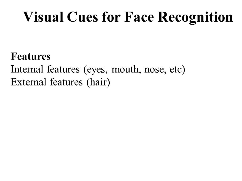 Visual Cues for Face Recognition Features Internal features (eyes, mouth, nose, etc) External features (hair)