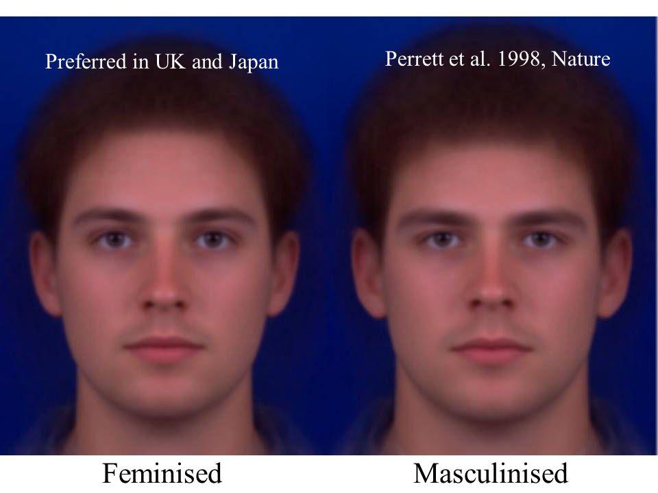 FeminisedMasculinised Preferred in UK and Japan Perrett et al. 1998, Nature
