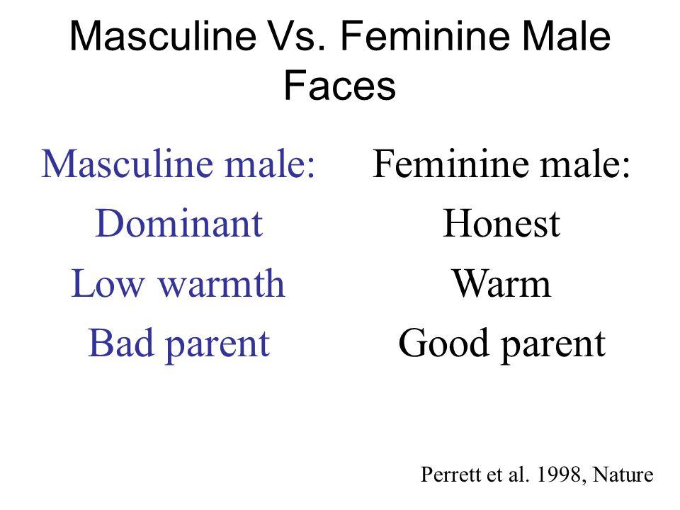 Masculine Vs. Feminine Male Faces Masculine male: Dominant Low warmth Bad parent Feminine male: Honest Warm Good parent Perrett et al. 1998, Nature