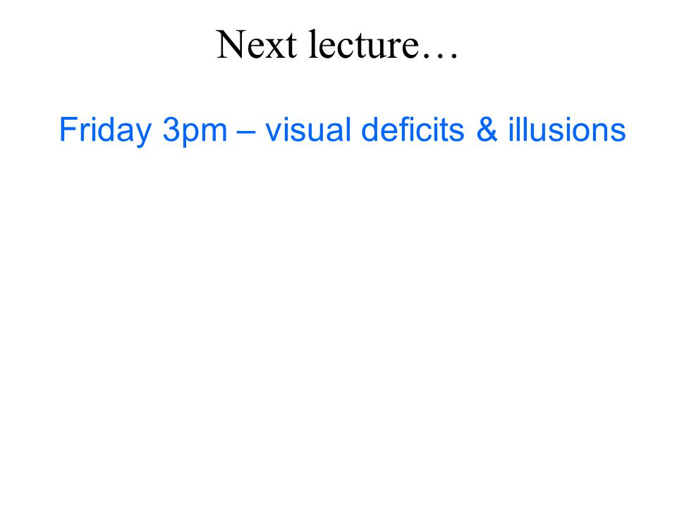 Next lecture… Friday 3pm – visual deficits & illusions