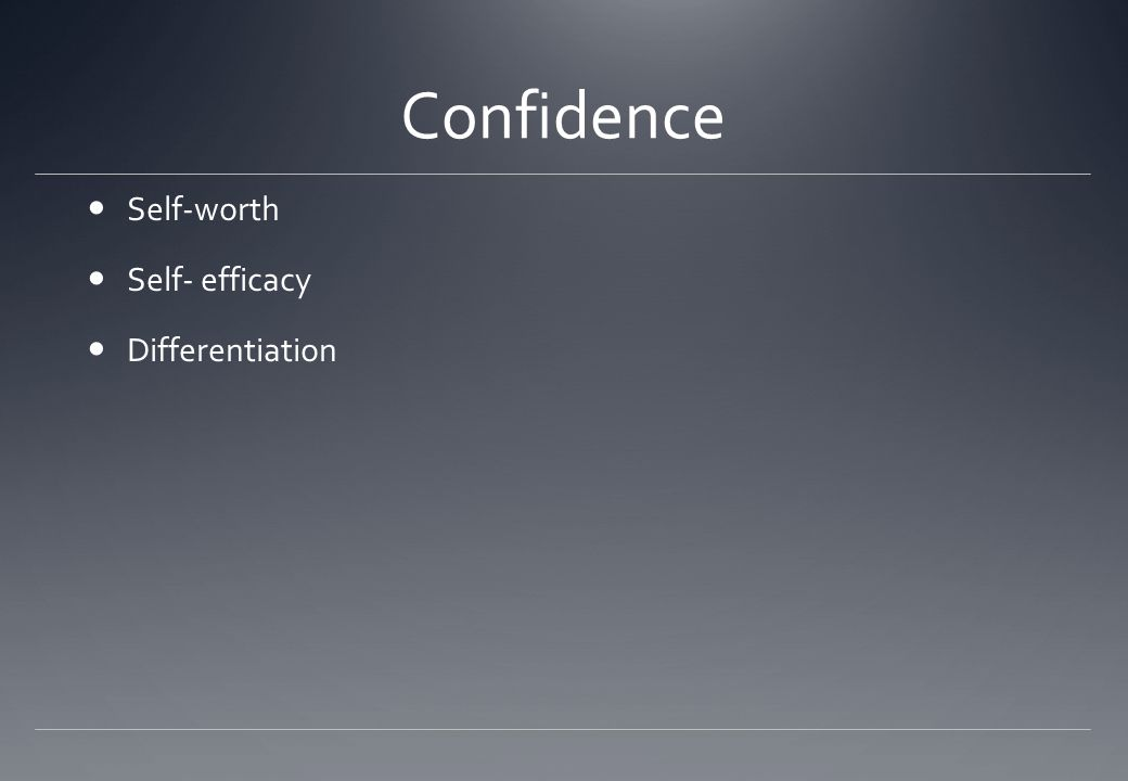 Confidence Self-worth Self- efficacy Differentiation
