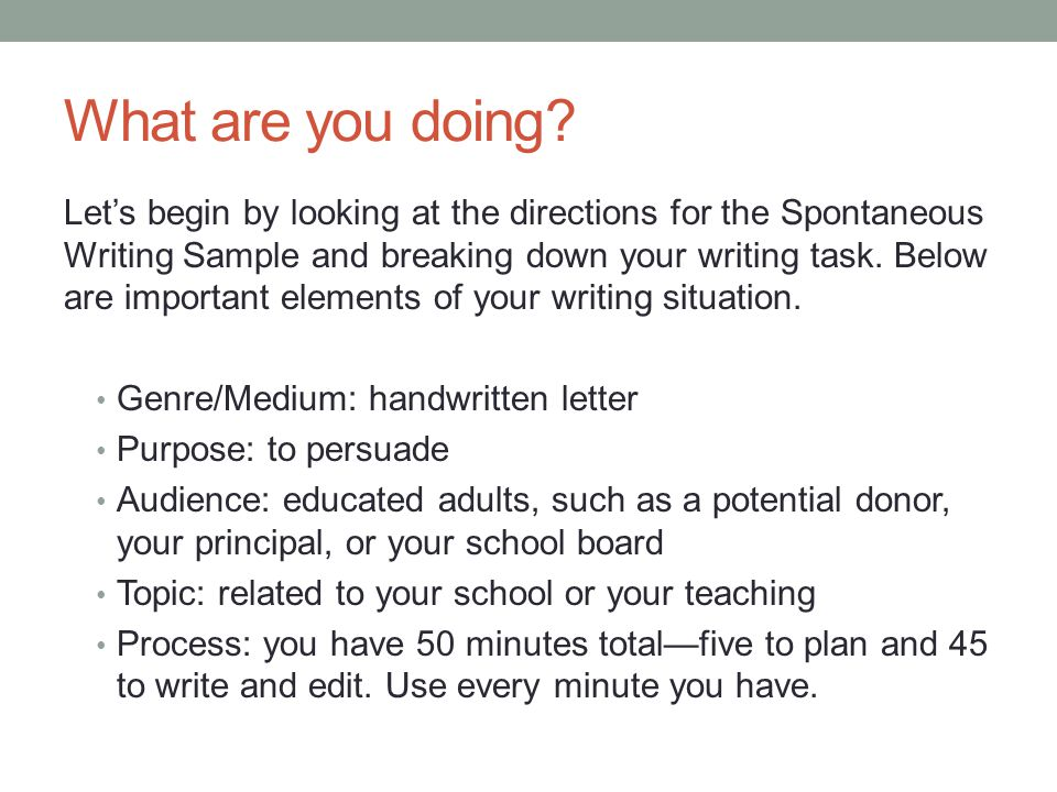What are you doing? Let's begin by looking at the directions for the Spontaneous Writing Sample and breaking down your writing task. Below are importa