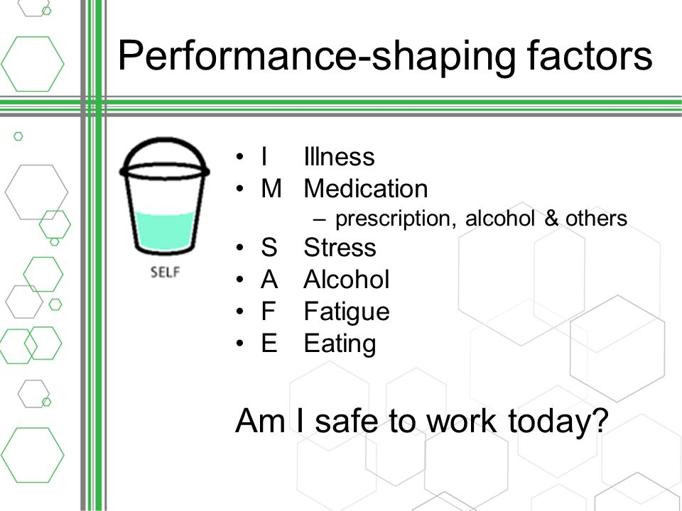 Performance-shaping factors IIllness MMedication –prescription, alcohol & others SStress AAlcohol FFatigue EEating Am I safe to work today?