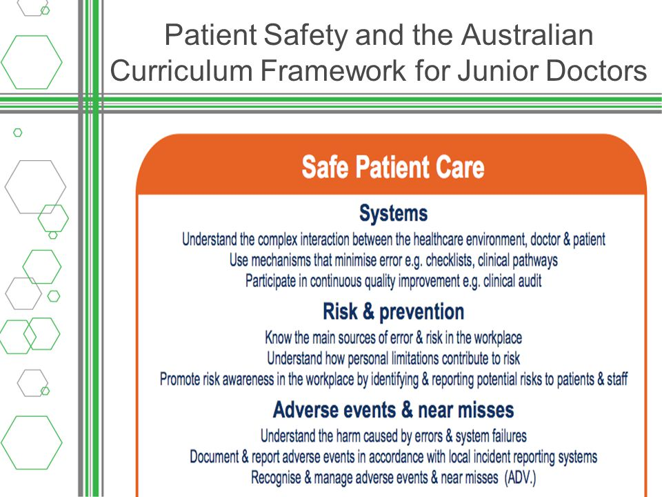 Adverse events in health Contribute to about 18,000 deaths per year in Australia (approximately 10 times the road toll) Occur in up to 16% of all hospital admissions Quality in Australian Healthcare Study (Wilson et al.