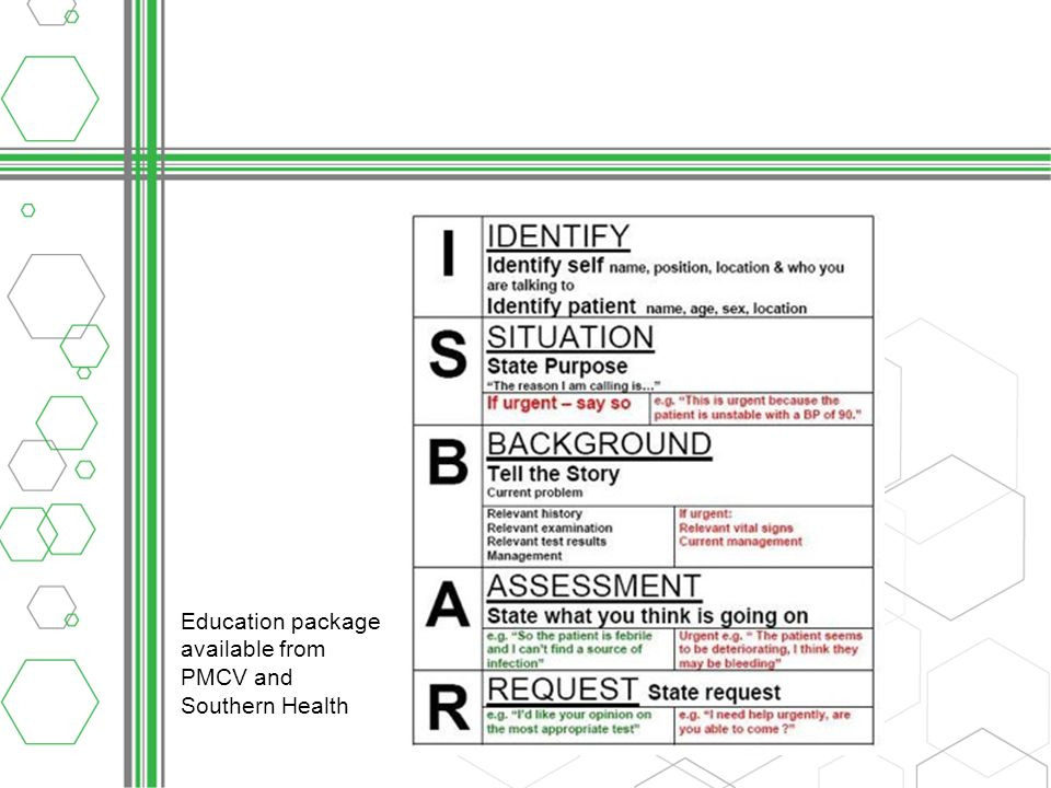 Education package available from PMCV and Southern Health