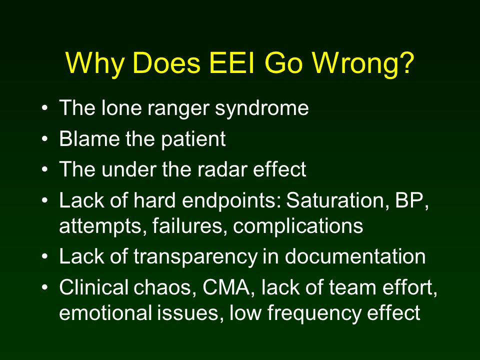Why Does EEI Go Wrong.